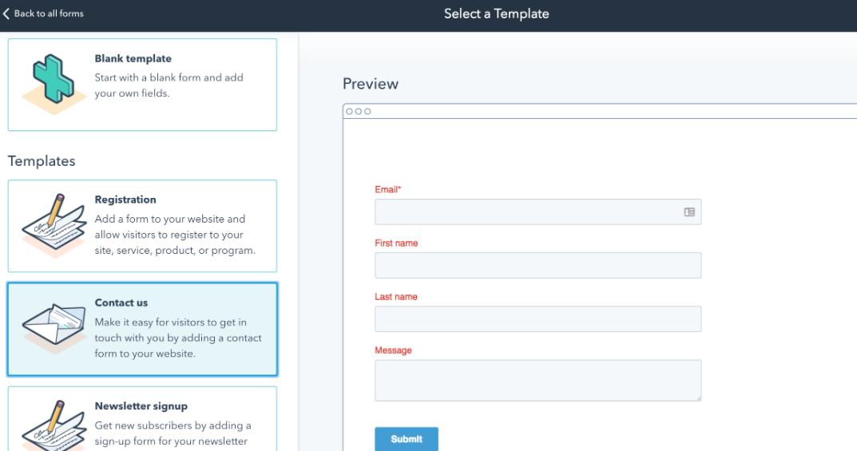 HubSpot Online Form Builder